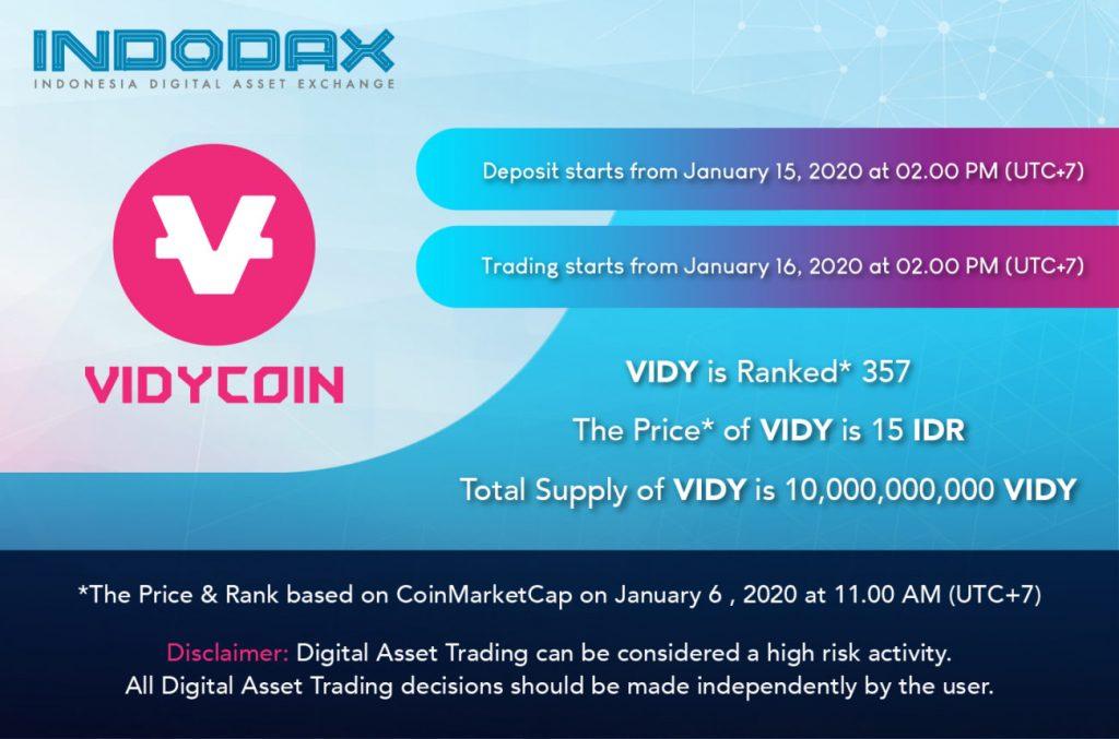 Vidycoin Sekarang Hadir Di Marketplace Indodax Jelajahcoin